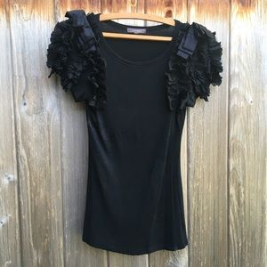 Alythea Anthropologie black dressy ruffle top